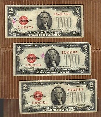 $2 1928 Two Dollar USA Legal Tender Note Red Seal Bill Old Paper Money Deuce 6
