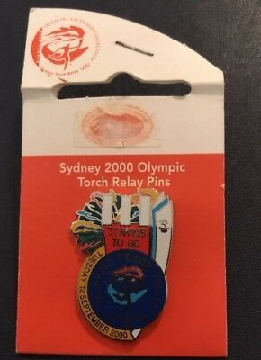 Sydney 2000 Olympic Games Torch Relay Pin - on a backing board - 111 Towns To Go