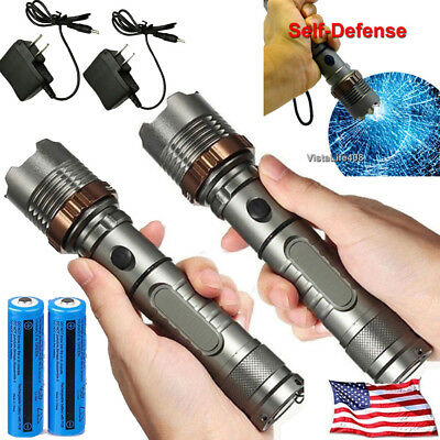 US Tactical Police 90000LM T6 LED 5 Modes Zoomable Rechargeable Flashlight Torch