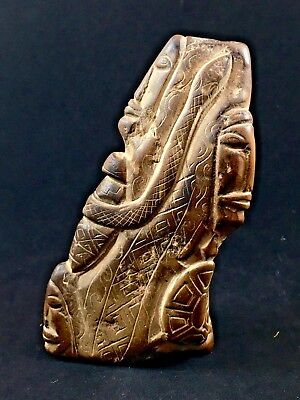 Antique Carved Stone Tribal Art with Faces, Shield, Snake