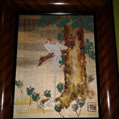 Beautiful Antique/vintage Japanese Painting With Stamp/mark