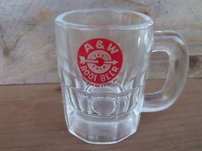 "Vintage A&W Root Beer Baby or Mini Mug, 3 1/8"" tall. Red Bullseye Label    RARE"