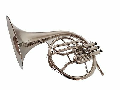 BRAND New MELLOPHONE_FRENCH HORN:BB/F^PITCH^CHROME FINISH W/CASE&MOUTHPIECE