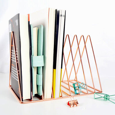 Nordic Simple Book Stand Geometric Metal Plating Wire Shelf Desk Decoration