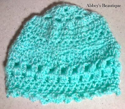 Green Sparkly  Handmade Baby Beanie Soft Vintage Style Crocheted New