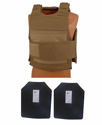 Complete Level III AR500 Steel Body Armor With Lightweight Vest - Coyote