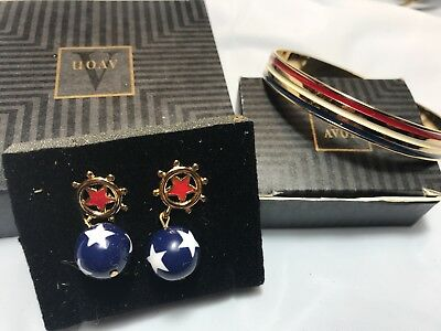 1990s Avon American Glory Bracelet & Pierced Earrings 4th of July NOS