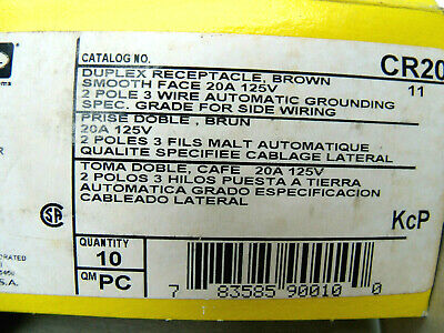 Pack of 10 Hubbell CR20 BROWN Duplex Receptacle, 20A, 5-20R, 125V