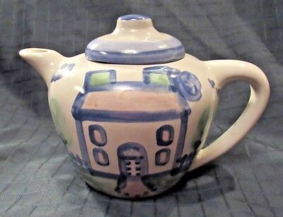 "M A Hadley Folk Art Teapot with Lid Blue House Country House Handpainted 6"" Tall"