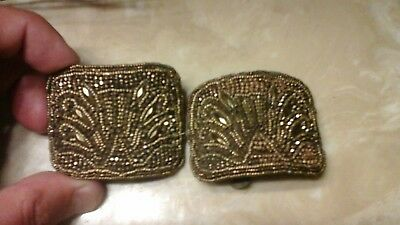 Antique Bronze French Steel Cut Shoe Buckles