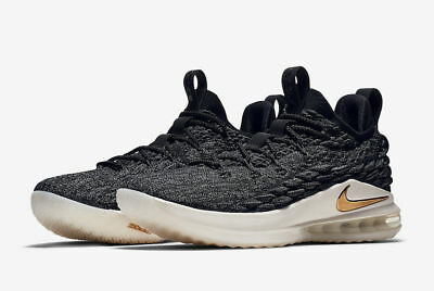 SALE Nike Men's Lebron 15 XV Low Black Metallic Gold AO1755-001 King James
