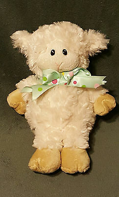 "Fiesta Plush White Lamb Green Bow  7.5"" tall sheep Stuffed Lovey Soft Cuddle Toy"