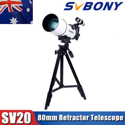 "SV20 80mm Refractor Telescope Fully Coated Glass +49"" tripod+Phone Adapter AU"