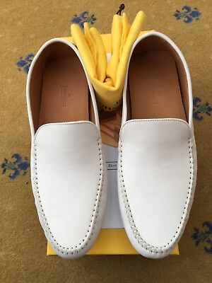 New John Lobb Men Shoes White Chalk Leather Loafers Driver UK 9 US 10 EU 43 5810