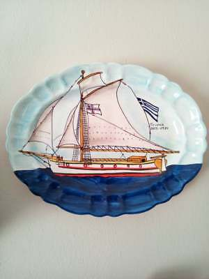 Greek Display Plate Dish 17.7'' to 13.8'' Hand Painted Cargo Ship of Zagora