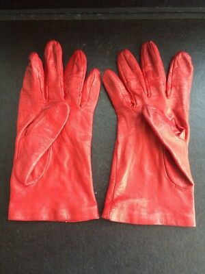 Jaeger Vintage Soft Red Leather Ladies Gloves  - Silk Lined Size 7.5 -