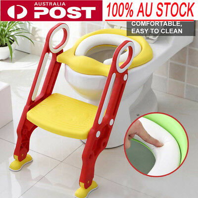 AU Baby Toddler Soft Toilet Chair Ladder Adjustable Safety Potty Training Seat