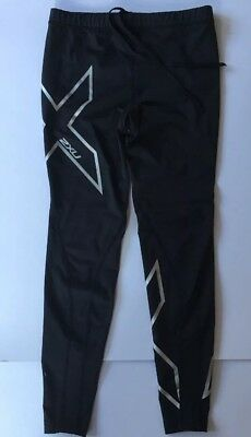 # 2XU COMPRESSION PANTS Youth Black Silver Full Length - Size XL - EXCELLENT