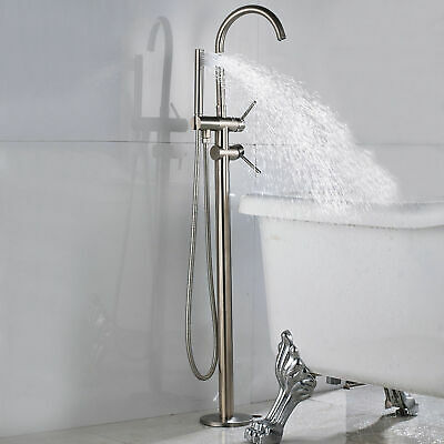 Brushed Nickel Bathtub Faucet Floor Mounted Free Standing Tub Filler