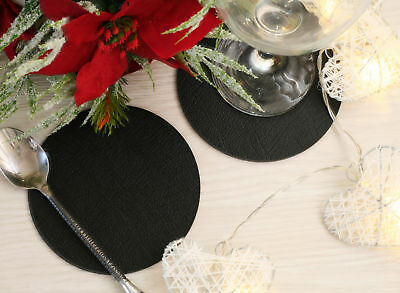 Set of 8 Classic Black Leatherboard Round Coasters - Made in UK