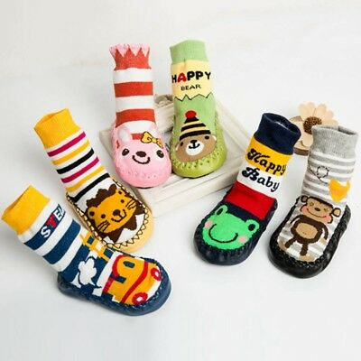 Baby Boy Girl Moccasins Non Slip Indoor Slippers Socks Age 6 9 12 Months 1 2 3 Y