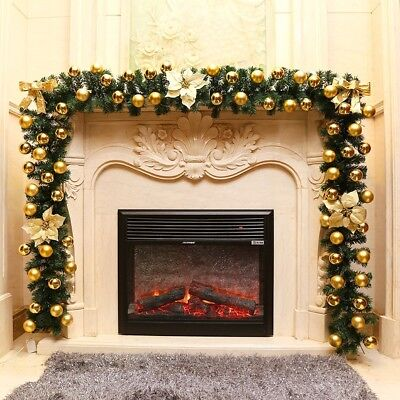 9FT Artificial Christmas Wreath Decorated Garland Fireplace Xmas Tree Decoration