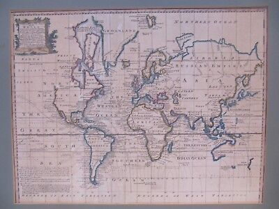 18th Century Hand Coloured Engraving World Map Pub C 1744 By