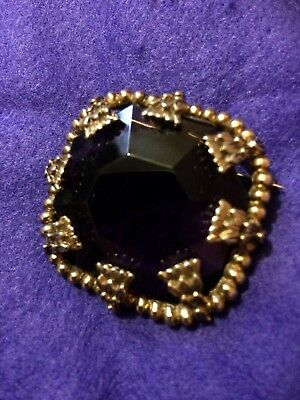 Vintage 50s/60s Purple Stone Gold Metal Brooch Art Deco Style