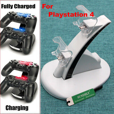 UK White Dual Controller Charger Dock Station Stand Charging For PS4 Playstation