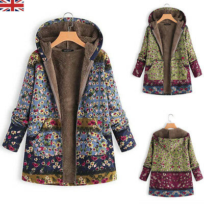 Plus Size UK Womens Floral Hooded Fleece Fur Lined Coat Ladies Warm Thick Jacket