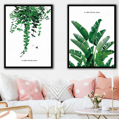 JN_ Nordic Style Green Plant Leaves Canvas Painting Wall Living Room Home Deco