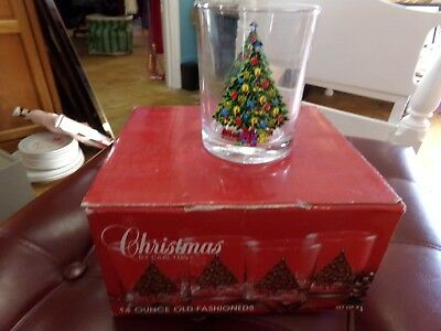 SET of 4 VINTAGE 1984 CARLTON CHRISTMAS TREE OLD FASHIONED GLASSES w/ORIG BOX