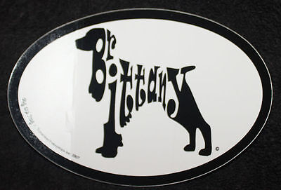 Brittany Oval Euro Style Car Dog Decal Sticker
