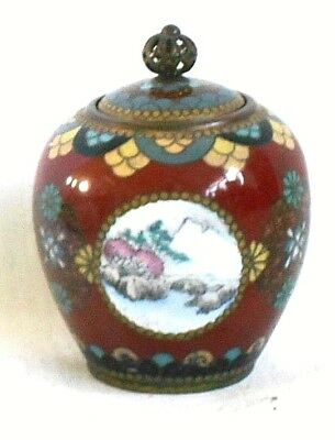 C19Th Japanese Cloisonne Pot And Cover With Flowers And Enamel Picture Panels