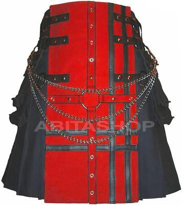 New Fashion Gray & Red Utility kilt Double Cross Design expedited shipping