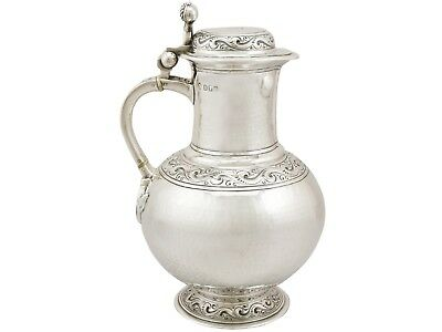 Britannia Standard Silver Flagon Arts and Crafts Style Antique Edwardian 1500g