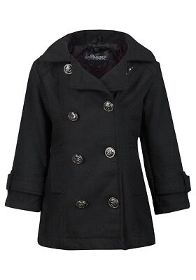 Girls Dollhouse Wool Blend Hooded Collared Double-breasted Winter Coat.18Mths-16