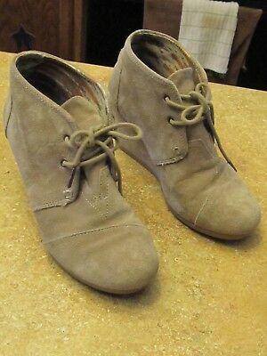 06ba785ee0b4 Toms Womens Desert Taupe Suede Lace Up Wedge Ankle Boots Shoes size 7M FREE  SHIP