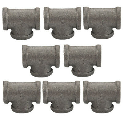 """3/4"""" BLACK MALLEABLE IRON TEE 3-way fitting pipe npt (Lot of 8)"""