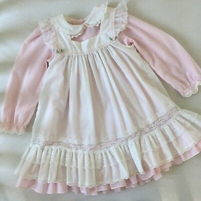 Bryan Size 5 Vintage Dress pink and white with Pinafore Lace and Rosettes