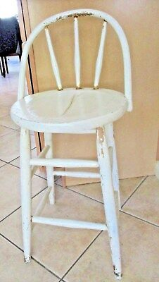 Vintage ANTIQUE White Painted WOOD Seat Chair Stool Farm Fresh! Primitive Shabby