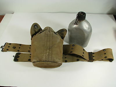 WWII US 1945 AGM Canteen w 1943 British Cover & Web Belt