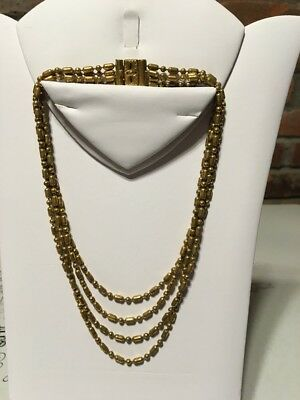 Antique Vintage Art Deco 4 Strand link Metal Ball chain Brass Necklace Bracelet