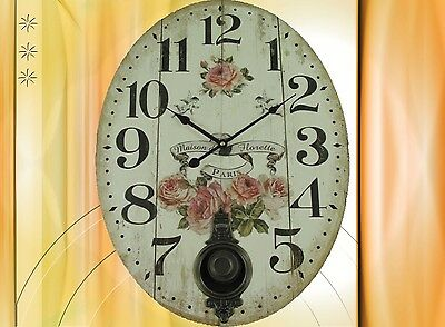 Novelty Wall Clock Paris Maison de Horette Flowers Wood Battery Vintage Gift