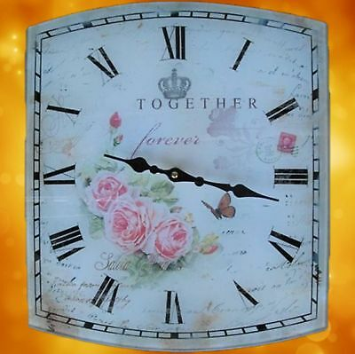 Wall Clock Square Gift Home Home Glass Battery 35x40cm Vintage Aesthetics Rarity