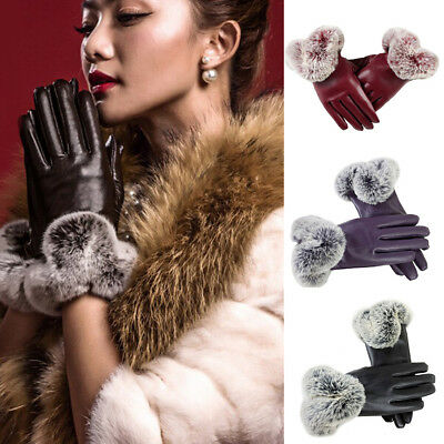 1Pair Elegant Touch Screen Faux Rabbit Fur PU Leather Winter Warm Gloves Mittens