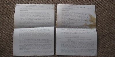 2 Page Northampton State Hospital Records 1924