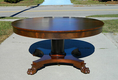 Mahogany Empire Dining Table~~5 Leaves~extends to 116 Inches circa1890