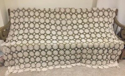 Crochet Tablecloth Vintage Handmade, Ecru, Measures 84 X 104 Inches