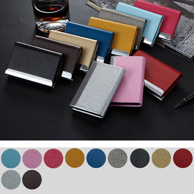 Aluminum PU Id Credit Card Holder Case Business Name Card Box Leather Wallet